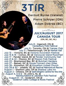 Poster for Pierre Schryer, Dermot Byrne and Adam Dobres concert July 7 at the Tranzac Club.