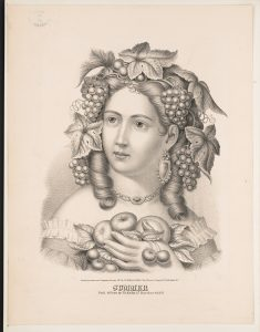 An engraving of Summer, depicted as a young woman surrounded by fruits and other seasonal bounty.