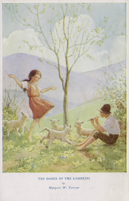 Shepherd in hat sits on ground and plays a tune on the whistle while four lambs and a young girl dance and frolic.