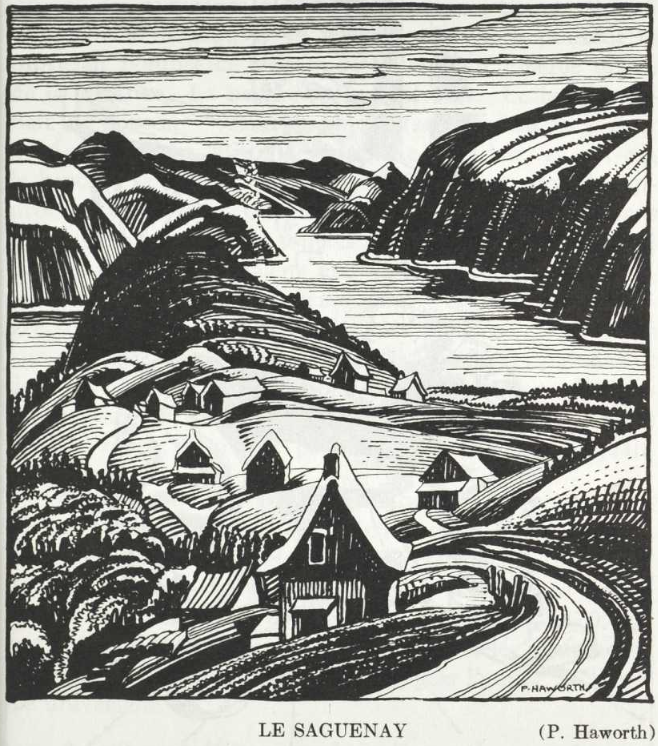 Block print of a winding road passing along a ridgeline through farms to Lac St-Jean.