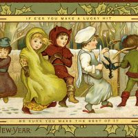 A Kate Greenaway illustrated card from circa 1900 showing children frolicking in the snow, courtesy the Osboren Collection at Toronto Public Library.