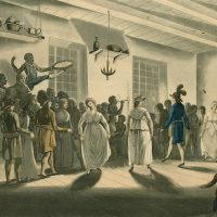 Colour plate of Canadians in Quebec dancing the Minuet.