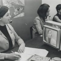 Personal news over closed-circuit television network at the Expo '67 in Montreal, QC. Photo credit - Innel, Reg (1967) from the Toronto Star Archives at the Toronto Public Library