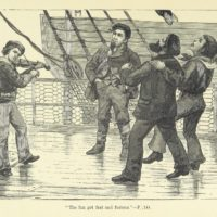 "A drawing of a fiddler with a rowdy audience on a tall ship. Caption reads ""The fun got fast and furious, p. 144""."